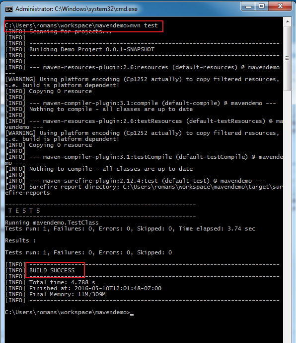 15. test runs in command prompt