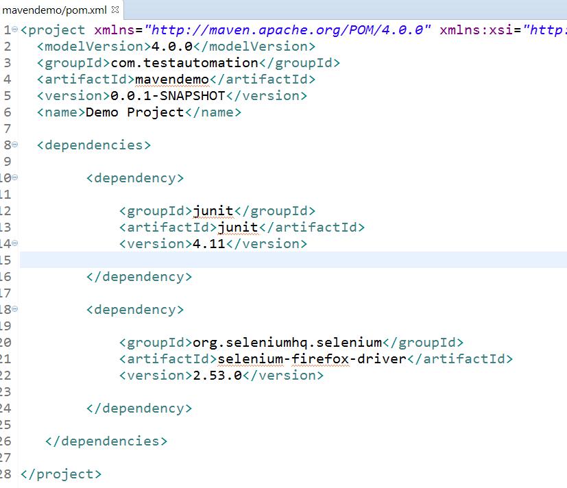 8. add junit and selenium dependencies to pom file